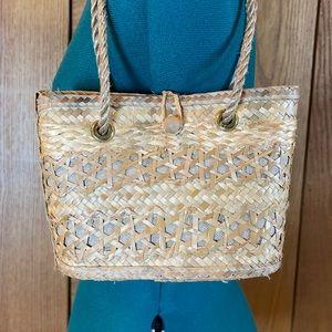 EUC Natural Tan Straw Woven Small Handbag Tote